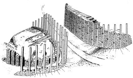 Hrazany - rekonstrukce brány B (podle L. Jansové)