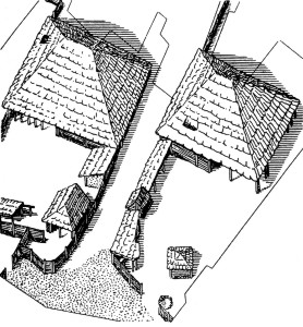 Hrazany - rekonstrukce dvorců ve středním úvalu (podle L. Jansové)