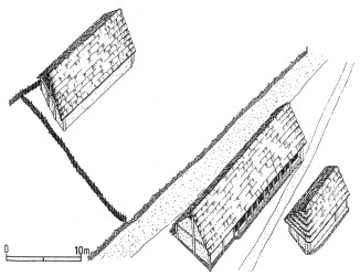 Hrazany - terasovité domy na svahu Červenky kolem poloviny 1. století (podle Drdy - Rybové)